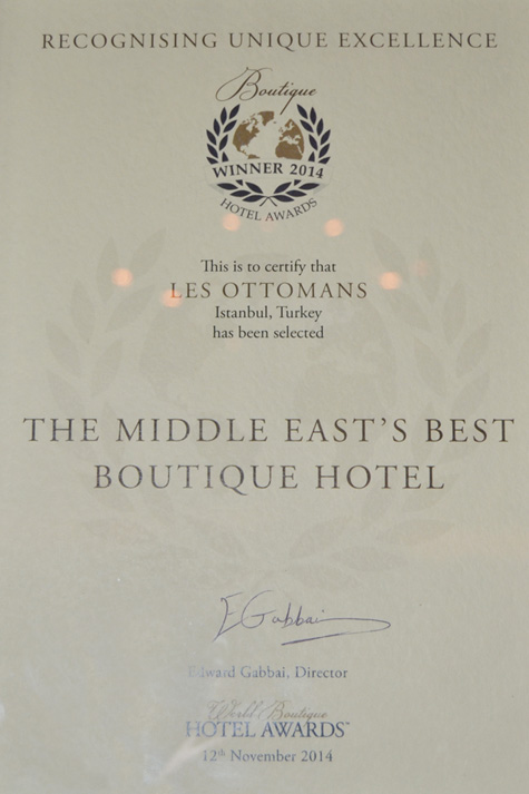 2014 - BOUTIQUE HOTEL AWARDS